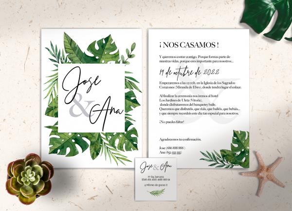 Invitaciones Colección Tropical Green Love&Fest