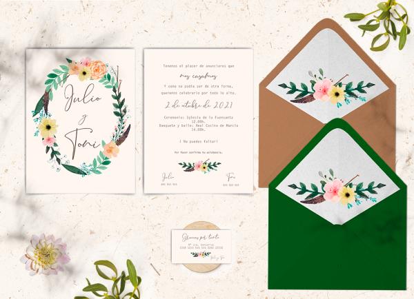 Invitaciones con sobre Colección Flowers Love&Fest