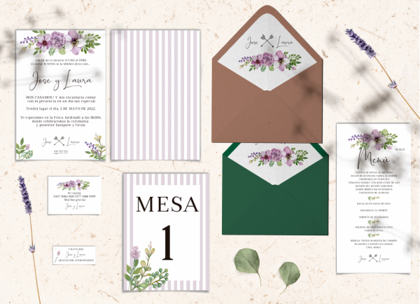 Papelería boda Colección Lavender Love&Fest