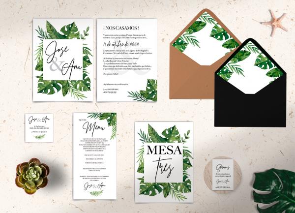Papelería boda Colección Tropical Green Love&Fest