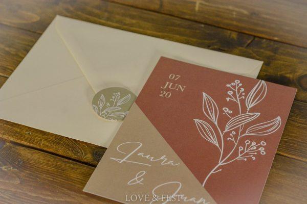 Invitaciones boda Colección Terracota con sobre y pegatina