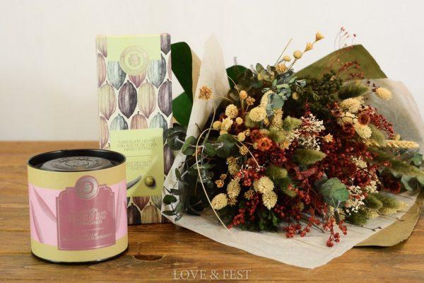 Ramo flores preservado y té LOVE&FEST