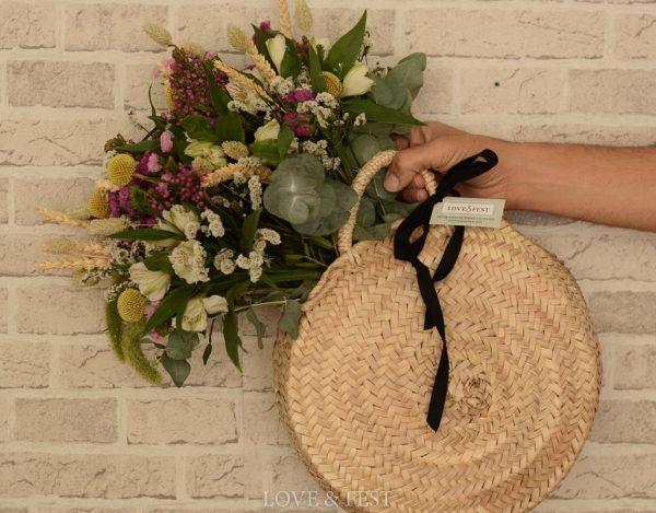 Bolso Cesta con flores naturales LOVE&FEST