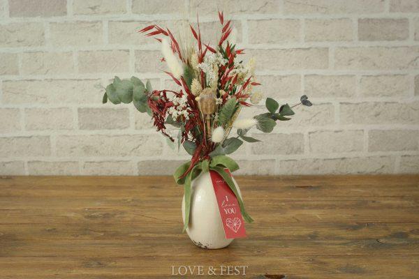 Jarrón flor preservada I LOVE YOU